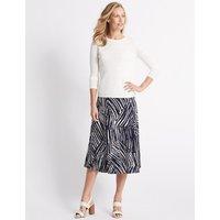 Classic Animal Print Jersey A-Line Midi Skirt