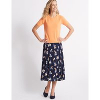Classic Floral Print Jersey A-Line Midi Skirt
