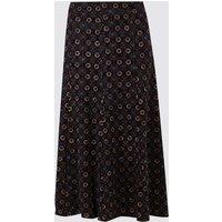 Classic Geometric Print Jersey Midi Skirt