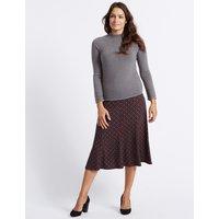 Classic Geometric Print Flock A-Line Midi Skirt