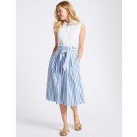 M&S Collection Pure Cotton Striped A-Line Midi Skirt