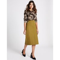 Per Una Cotton Rich Pencil Midi Skirt