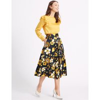 MandS Collection Cotton Rich Floral Print A-Line Midi Skirt