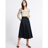 MandS Collection Cotton Rich Printed A-Line Midi Skirt
