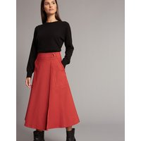 Autograph Cotton Blend Wrap A-Line Midi Skirt