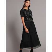 Autograph Tiered Mesh A-Line Midi Skirt