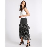 M&S Collection Spotted Ruffle Maxi Skirt