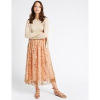 MandS Collection Embroidered A-Line Midi Skirt