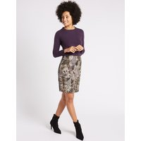 MandS Collection Jacquard Floral Print A-Line Mini Skirt