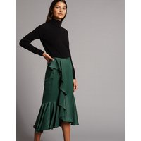Autograph Satin Ruffle Pencil Midi Skirt