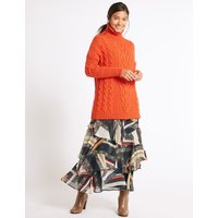 MandS Collection Printed Ruffle A-Line Midi Skirt