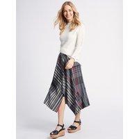 M&S Collection Asymmetric Checked Wrap Midi Skirt