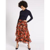 MandS Collection Scarf Print Ruffled A-Line Midi Skirt