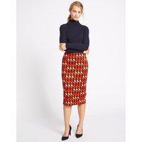 M&S Collection Geometric Print Jersey A-Line Midi Skirt