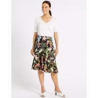 M&S Collection Frill Hem Floral Print Wrap Skirt