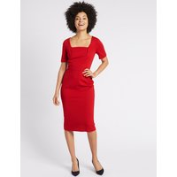 M&S Collection Ponte Short Sleeve Shift Midi Dress