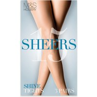 M&S Collection 3 Pair Pack 15 Denier Sheer Shine Tights