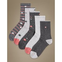 M&S Collection 5 Pair Pack Sumptuously Soft Ankle High Socks