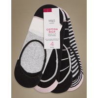 M&S Collection 4 Pair Pack Cotton Rich High Cut Footsies