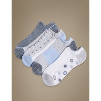 M&S Collection 4 Pair Pack Cotton Rich Trainer Liner Socks