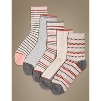 M&S Collection 5 Pair Pack Textured Ankle High Socks