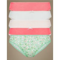 M&S Collection 5 Pack Cotton Rich High Leg Knickers
