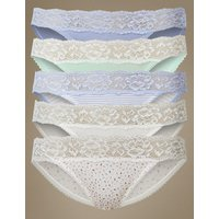 M&S Collection 5 Pack Cotton Rich Lace Waisted Bikini Knickers