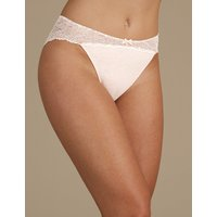 M&S Collection Cotton Blend Marl & Lace High Leg Knickers