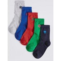 5 Pairs of Freshfeet Embroidered Socks (1-14 Years)