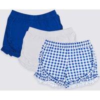 3 Pack Pure Cotton Ruffle Shorts (3-16 Years)
