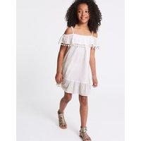Pure Cotton Pom Pom Dress (3-16 Years)
