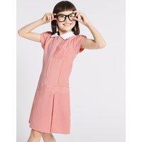 Girls' Gingham Longer Length Pleated Dress