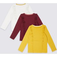 3 Pack Pure Cotton Frill Tops (3 Months - 5 Years)