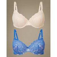 MandS Collection 2 Pack Textured and Lace Padded Full Cup Bra A-E