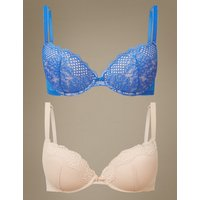MandS Collection 2 Pack Textured and Lace Push-Up Plunge Bra A-DD