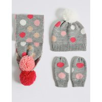 Kids' Spotted Hat, Scarf & Mittens Set
