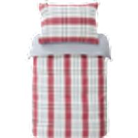 ELLEN-pussilakanasetti pinnasänkyyn, 2 osaa - ekologinen Punainen/ruudullinen