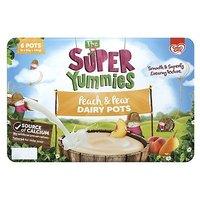 Cow & Gate The Super Yummies Peach & Pear Dairy Pots 12+ Months 6 x 55g 330g