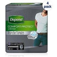 Depend Comfort Protect for Men Small/Medium - 40 Pants (4 pack bundle)