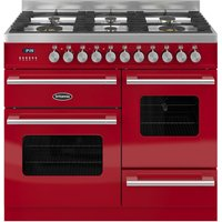 BRITANNIA Delphi 100 RC10XGGDERED Dual Fuel Range Cooker - Gloss Red & Stainless Steel, Stainless Steel