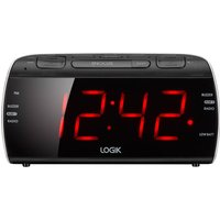 LOGIK  LCRB15 Analogue Clock Radio - Black & Silver, Black