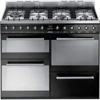 SMEG SYD4110BL 110 cm Dual Fuel Range Cooker Black & Stainless Steel, Stainless Steel