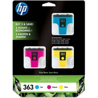 HP 363 Cyan, Magenta & Yellow Ink Cartridges - Multipack, Cyan