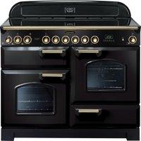 RANGEMASTER Classic Deluxe 110 Electric Ceramic Range Cooker - Black & Brass, Black