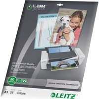 LEITZ  iLAM 80 Micron A3 Laminating Pouches - 25 Pack