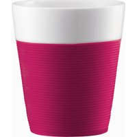 BODUM Bistro Porcelain Mug with Silicone Band - Pink, Pack of 2, Pink