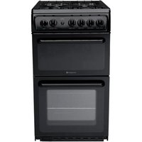 HOTPOINT HAG51K Gas Cooker - Black, Black