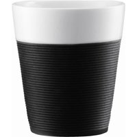 BODUM  Bistro Porcelain Mug with Silicone Band - Black, Pack of 2, Black