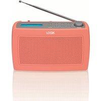 LOGIK LRDABP17 Portable DAB/FM Clock Radio - Peach Echo