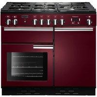 RANGEMASTER  Professional 100 Dual Fuel Range Cooker - Cranberry & Chrome, Cranberry